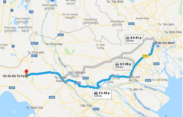 Tuyến đường đi từ Hồ Chí Minh đến hồ Tà Pạ An Giang